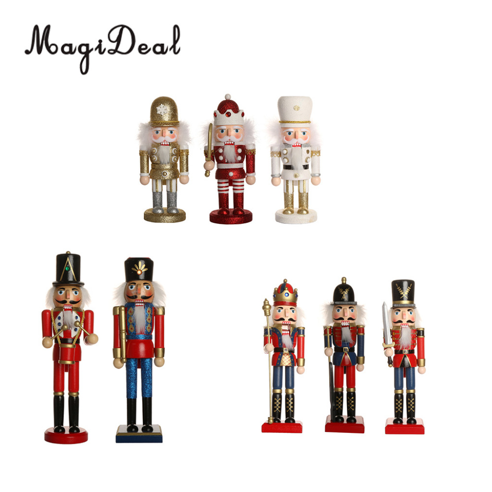 MagiDeal Handpainted Wooden Nutcracker Santa Claus Nut Cracker Xmas Ornament Toy Christmas Party Home Decoration