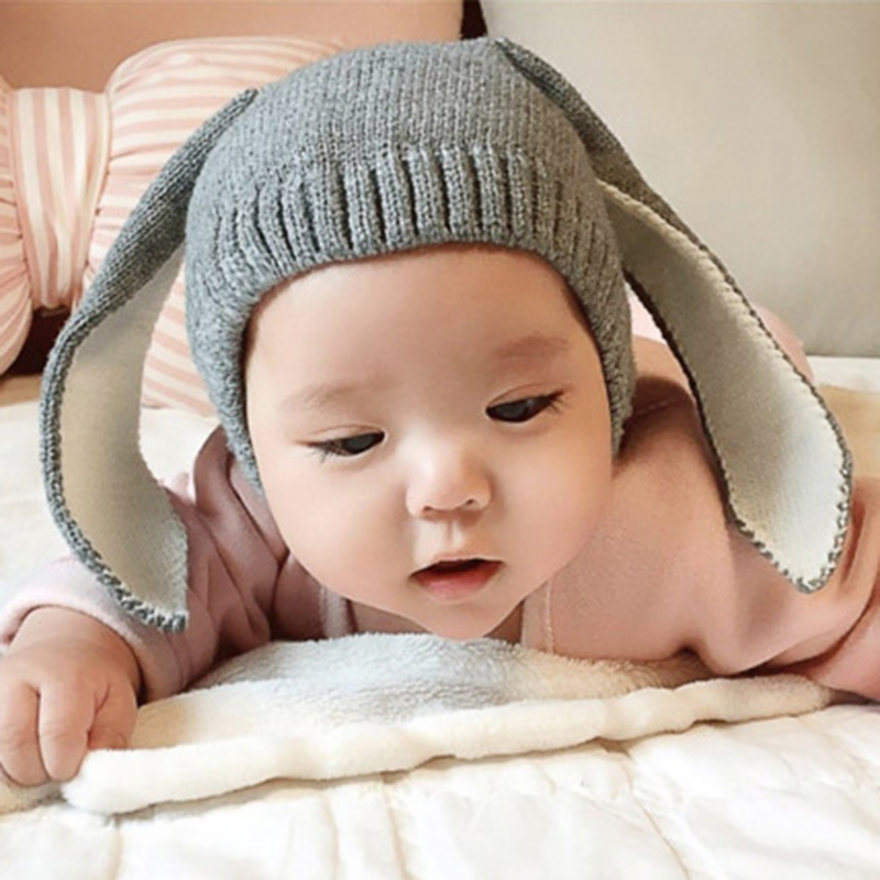 Winter Wool Knitted Hat For Children Boys Girls Baby Rabbit Ear Funny Hat For Kids Warm Creative Hat New Year Gift 8z-AA666 the new children s cubs hat qiu dong with cartoon animals knitting wool cap and pile