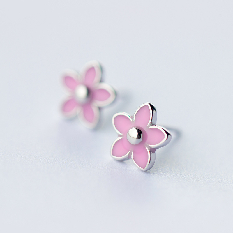 2017 New Hot 100% 925 Sterling Silver Jewelry Womens Fashion Tiny Cute Black Glaze Flower Stud Earrings Girl Birthday Gift DT23