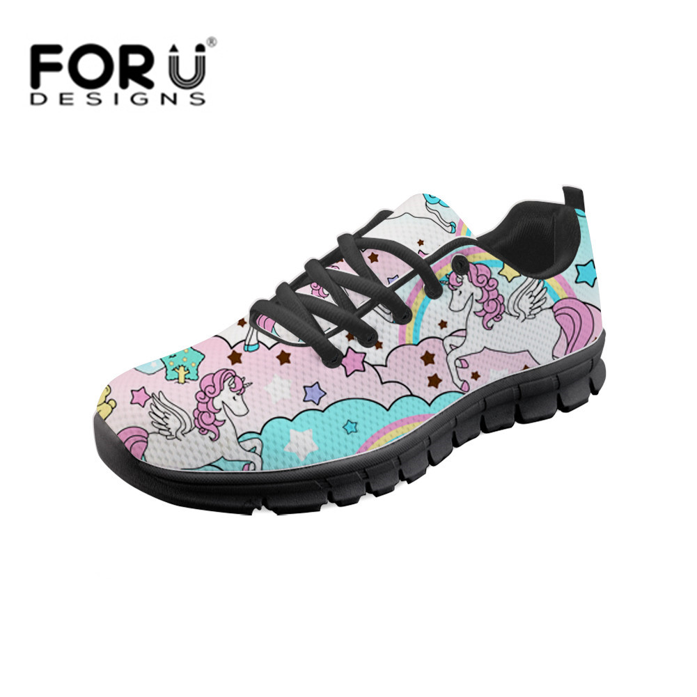 FORUDESIGNS Womans Casual Vulcanized Shoes Kawaii Rainbow Unicorn Sneakers For Female Zapatos Vulcanizados Femeninos Mesh Shoe