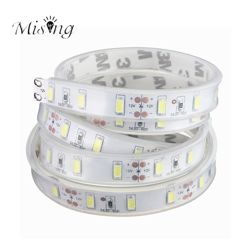 Mising Cool White 1M 5630 SMD Flexible LED Silicone Strip Light 20-22lm DC 12V 60leds/m Super Bright Waterproof IP65 Decoration