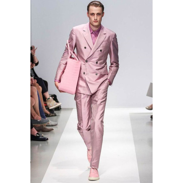 Custom Made Pink Men\'s Party Prom Suits Bespoke Double Breasted Cool ...