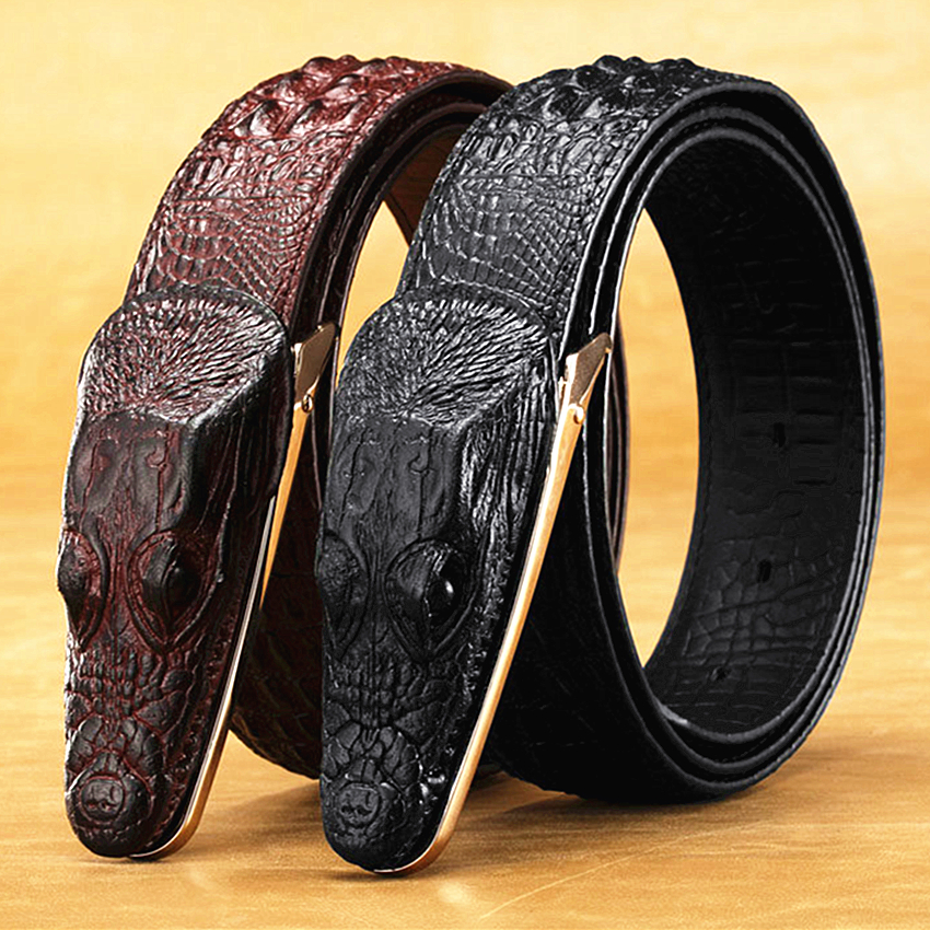 2018 new mens belt crocodile belt Genuine leather alligator strap crocodile head belt real cowhide fashion belts gift for men ...