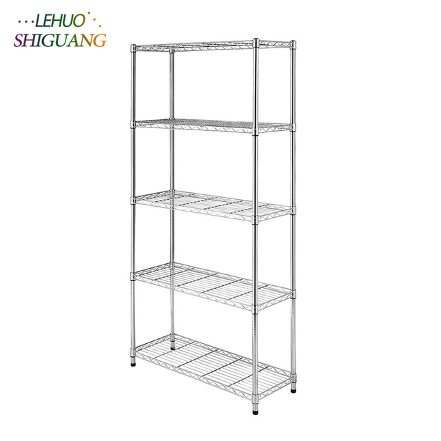 5 Layer Chrome Plated Iron Shelf Living Room Bookshelf Home Decor Bookcase Kitchen Storage