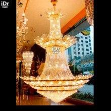 Люстры Золотистая люстра-лампа лобби отеля Полированная Металлическая лампа 120 см W x 200 см H гостиничное освещение