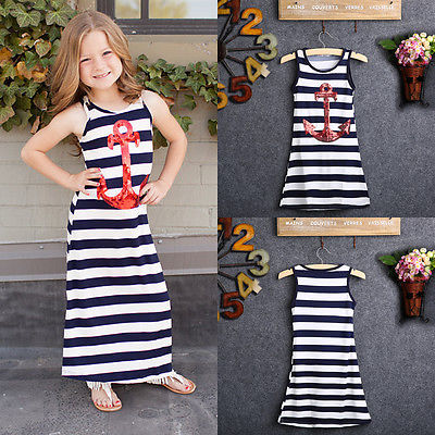 Newbaby 2017 Navy Blue Kids Girls Red Sequins Anchor Maxi Stripes Dress Summer Boho Sundress