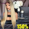 Blonde Ombre Human Hair Wigs Silky Straight 150% Density Full Lace Wigs With Dark Roots Glueless Front Lace Wigs Bleached Knots