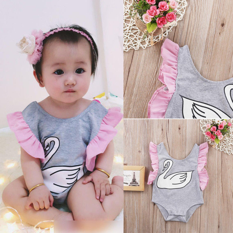 KEOL Best Sale Infant Toddler Baby Girl Swan Fairy Tale Romper Jumper Jumpsuit Outfit gray Size 70 (for 0-6 months)