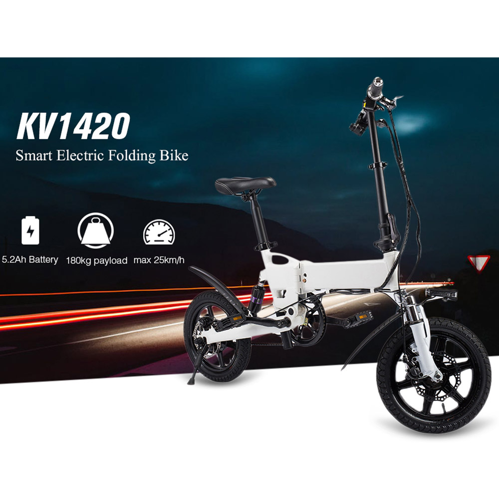 KV1420 Smart Folding Electric Bike Electric Moped Bicycle 5.2Ah Battery / EU Plug / With Double Disc Brakes Electric Bicycle