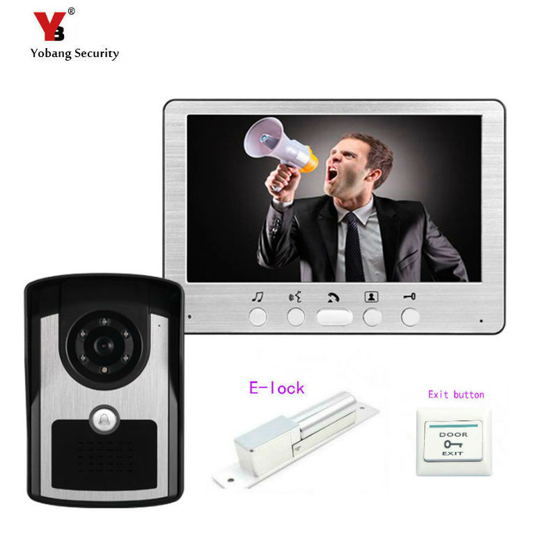 Yobang Security Freeship 7 Inch Video Door Phone Doorbell Video Intercom Kit 1V1 Door Bell Night Vision Camera +Electric lock new 7 inch color video door phone bell doorbell intercom camera monitor night vision home security access control