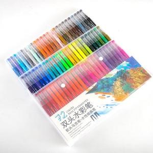 Image 2 - 100 шт. Цветная кисть для тонкого лайнера, кисть с двойным наконечником, ручки для рисования маркером, акварельные ручки для рисования манги, искусство