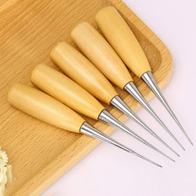 Professional Leather Wood Handle Awl Tools For Leathercraft Stitching Sewing  Sale WWO66