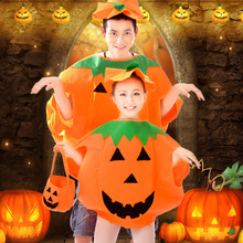 Halloween cosplay costume for kids adult pumpkin attire spoof cloth parent-child outfit with basket