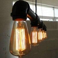 Бесплатная доставка Винтаж подвесные светильники металлические водопроводные трубы лампа в стиле стимпанк лампы E27 луковицы Подвесной Све