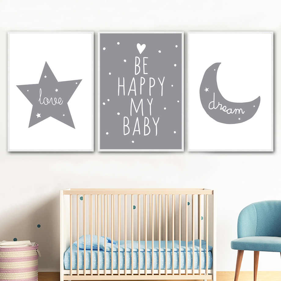 Cartoon Moon Star Dream Quote Nordic Posters And Prints Wall Art Canvas Painting Nursery Wall Pictures Kids Room Baby Room Decor