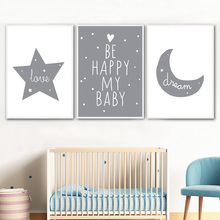 Cartoon Moon Star Dream Quote Nordic Posters And Prints Wall Art Canvas Painting Nursery Pictures Kids Room Baby Decor
