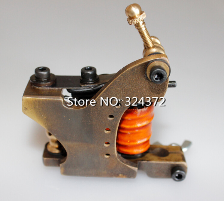 ФОТО professional brass wire 10 wraps shader manual handmade Cast brass frame Tattoo Machine Gun