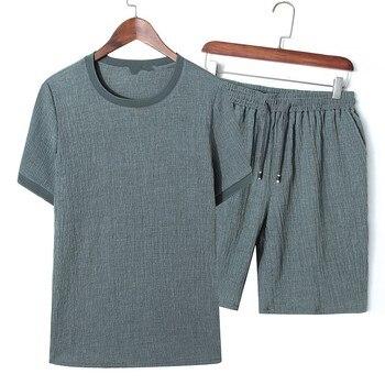 Summer wrinkle Linen men big o-neck t shirt sets Chinese style fat guy plus size men's Casual short-sleeve T-shirt 2 pcs 9XL 8XL