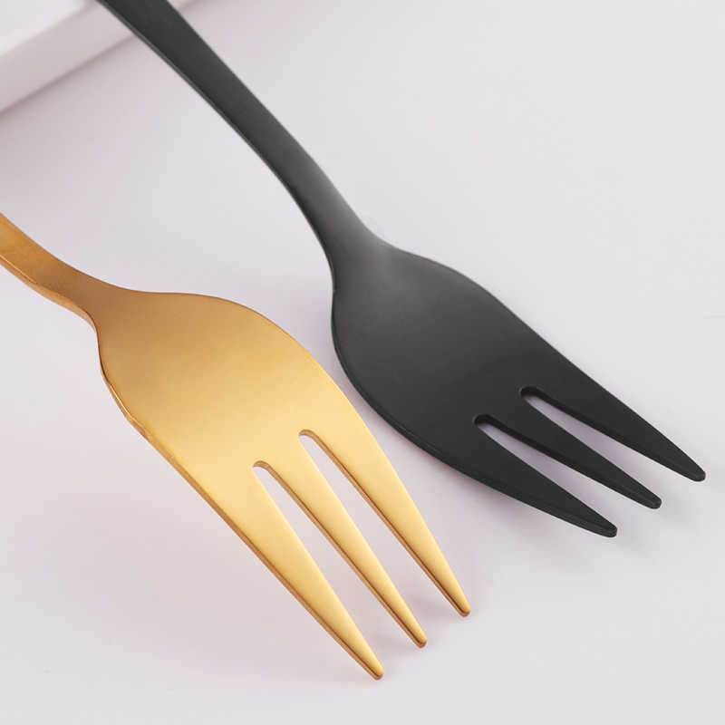 9 Colors Cake Fork Stainless Steel Gold Forks For Fruit Salad Small Rainbow Fork Useful Dessert Fork for Snack Dinnerware