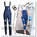 2015 Autumn Fashion Womens Jeans Cargo Pant Ripped Knee Hole Denim Overalls Girls Loose Pants Jeans