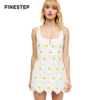 Womens Sleeveless Dress For Summer Above Knee High Quality Daisy Floral Dresses
