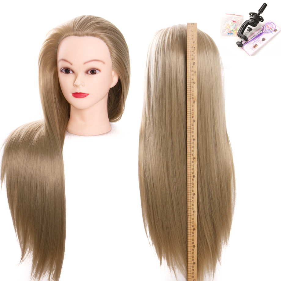 Lino 70 cm 100% Fibra sintética resistente al calor Mujer peinados para el cabello Maniquíes Cabeza de alta calidad cabeza de entrenamiento de envío gratis