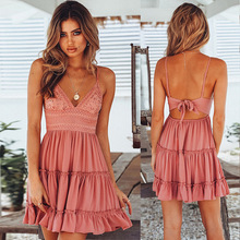 Women Dress Sexy Summer Sling Stitching Bow Princess Lace  Party Night Solid Sleeveless Backlees