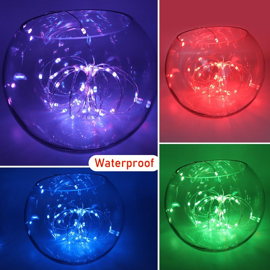 1M 2M 3M 5M 10M Waterproof LED String Light USB DC 5V RGB Wire Light Strip Outdoor Christmas Decoration LED Lights String TV 10M (4)