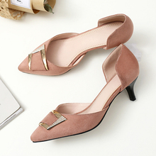 Meotina Thin High Heels Two Piece Shoes Women Buckle Med Heel Party Pumps Crystal Pointed Toe Ladies Shoes Gray Large Size 33-43