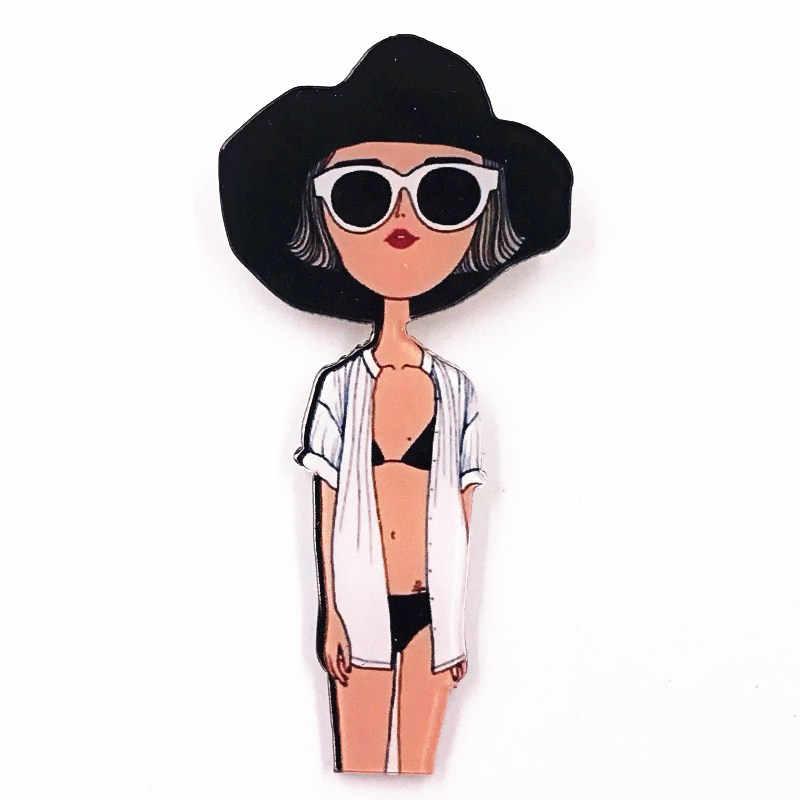 1 Pcs Baru Kreatif Populer Lucu Kecantikan Segar Akrilik Lencana untuk Anak Perempuan Pin Kanvas Tas Dihiasi Bros Pesta Hadiah