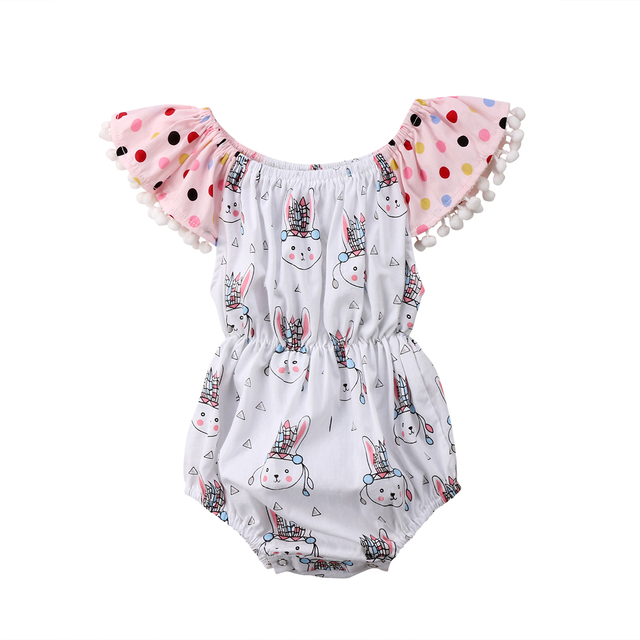 b29abf91cbf5 2018 Newborn Baby Girls Rabbits Flying Sleeves Jumpsuit Bodysuit Clothes  Outfits Cute Polka Dot Sunsuit Summer Clothes