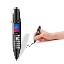 Caneta de gravação mini telefone móvel servo k07 0.96 polegada tela pequena dupla sincronização do cartão sim contato bluetooth dialer lanterna celular