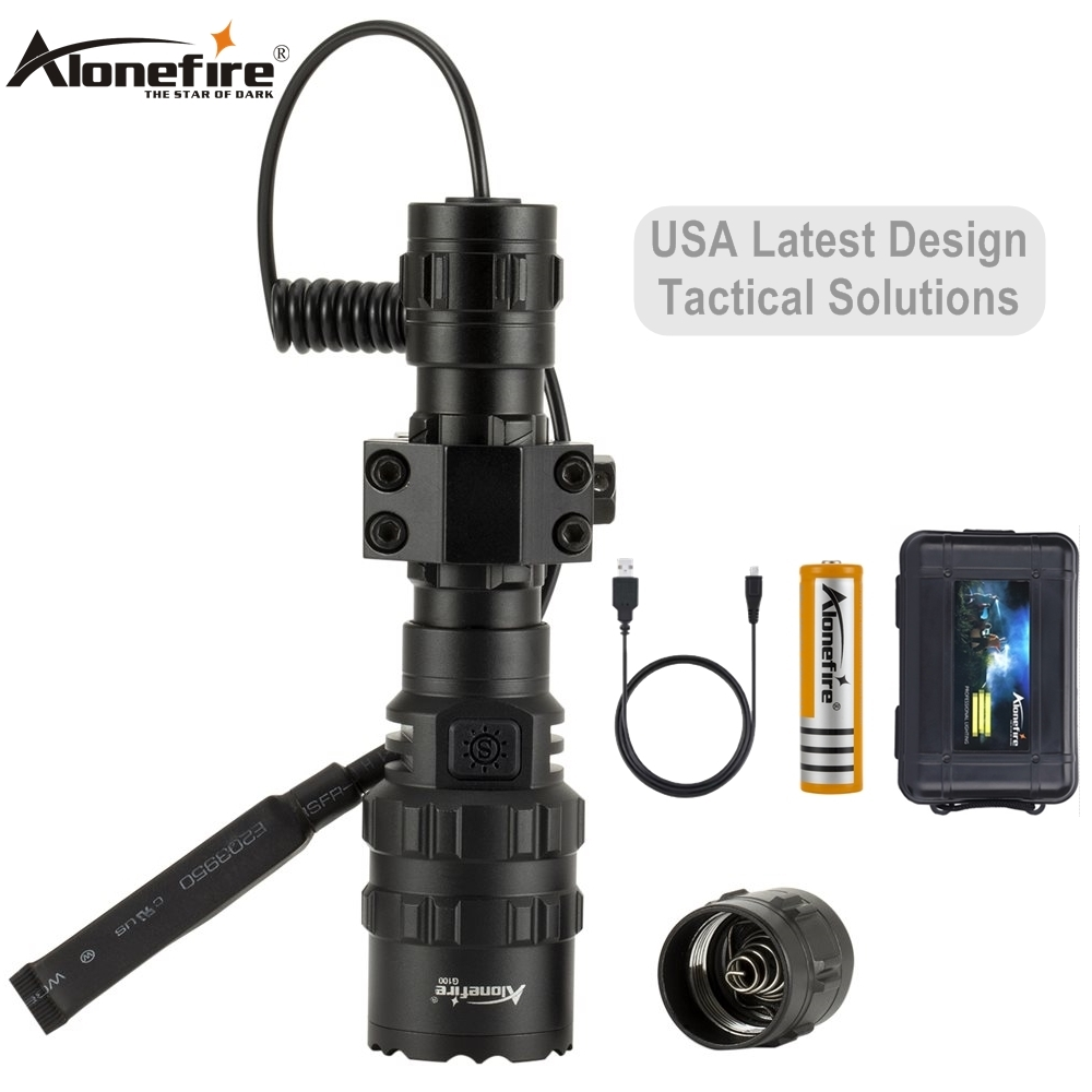 AloneFire G100 5000lm XM-L2 Led Weapon Gun Light White Tactical Hunting Flashlight Rifle Scope Airsoft Mount Remote Switch 18650