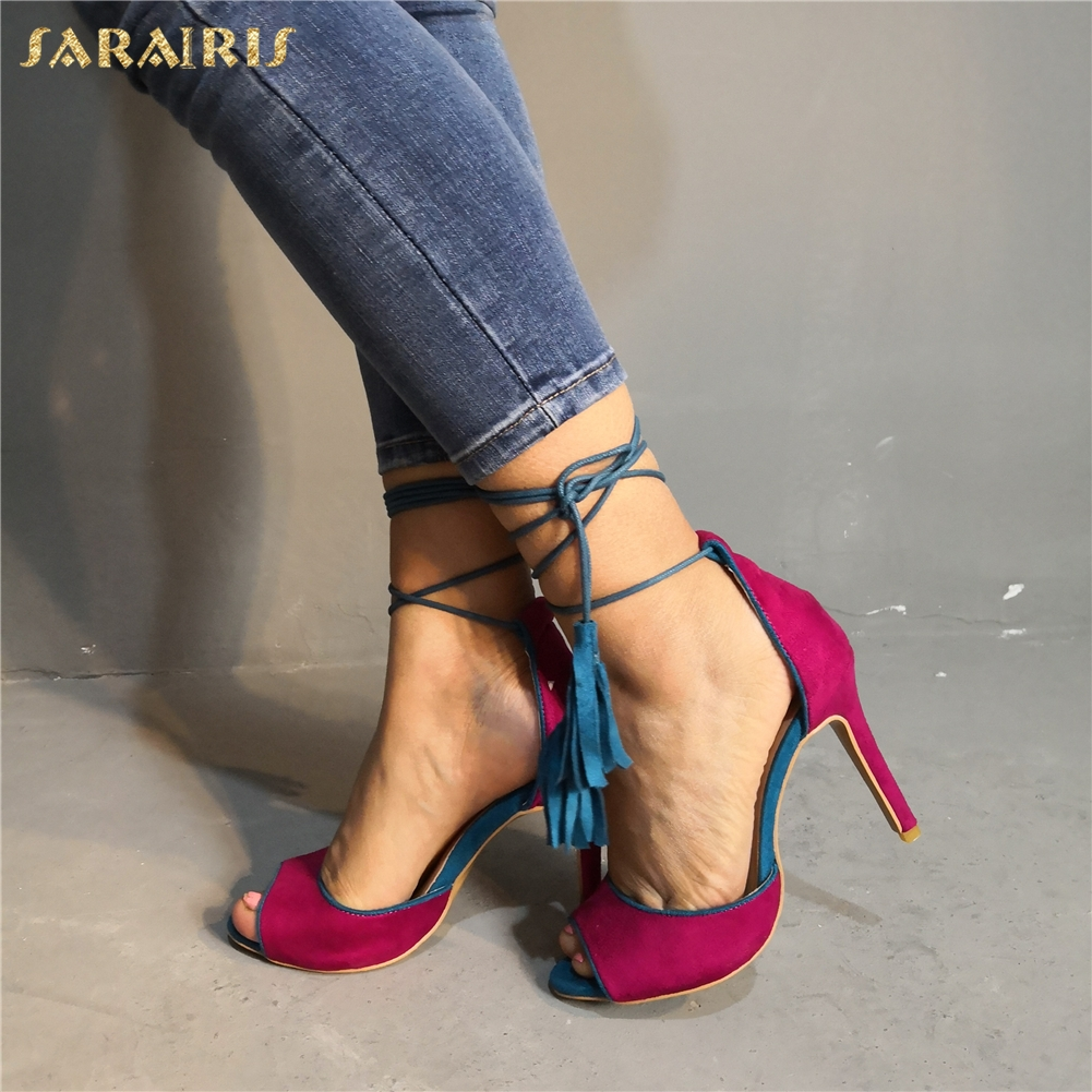 SARAIRIS Brand New Sexy High Quality Plus Size 47 Party Women Shoes ankle-wrap Gladiator Thin High Heels Shoes Woman Sandals