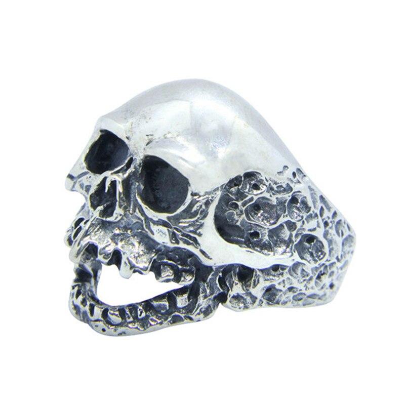 Livraison gratuite taille 7-15 hommes garçons 925 en argent Sterling mort crâne anneau bijoux plus récent S925 mode Biker crâne anneau