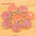 Natural Stone Powder Double Sun Pendant Silver Plated Rose Quartz Mascot Reiki Charms Amulet European Fashion Jewelry 10pcs