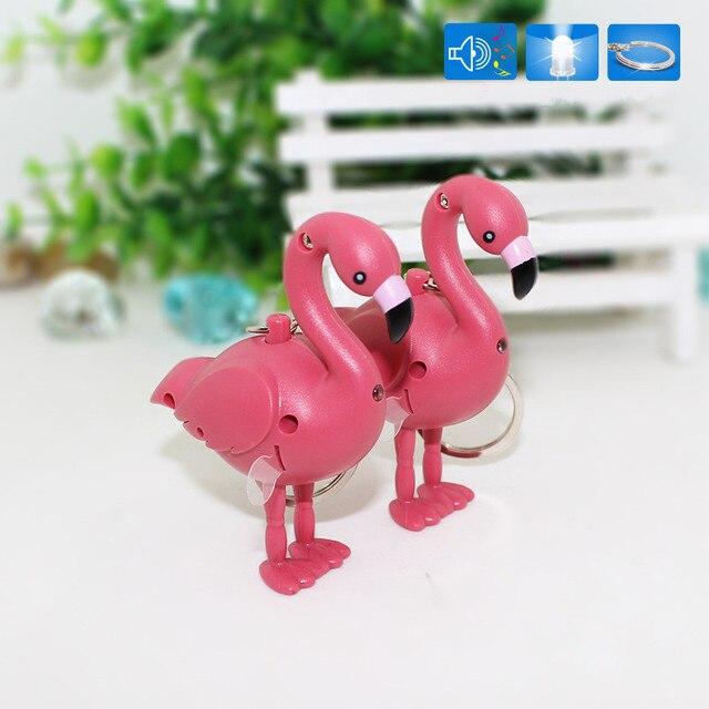 New chegou Flamingo Led Chaveiro com som Lanterna Criativo Crianças Brinquedos infantis presente modelo de simulação de Anéis saco Chave pingente