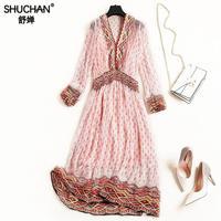 Shuchan Indie Folk 100% Natural Silk Dress For Women Print Long Summer Dresses V neck Clothes Women's Dress 2019 New ! 10372
