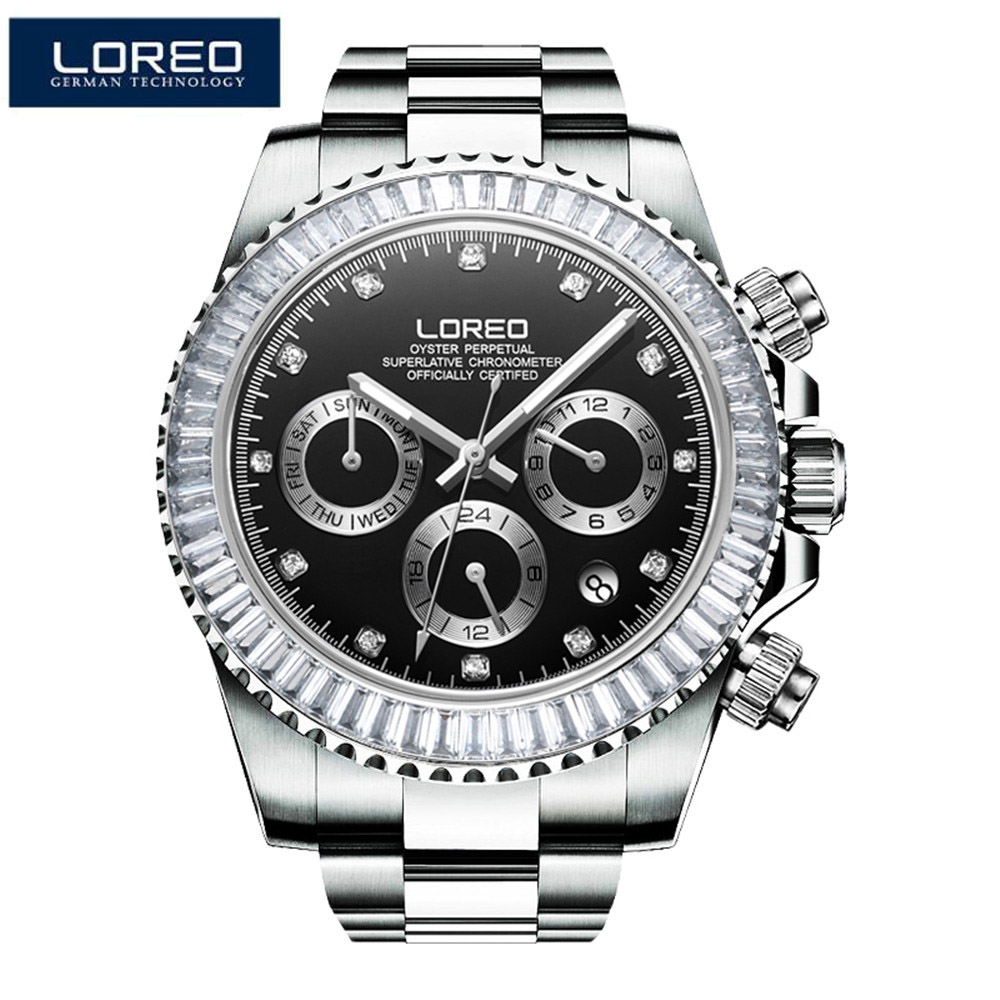 LORE Automatic Mechanical Watch Mens Watches Top Brand Luxury Diamond Stainless Steel 200m Waterproof Sapphire Diving Watches burei man watch top luxury brand male clock diamond sapphire mechanical wristwatches gold steel band waterproof watches hot sale