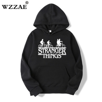 2019 Trendy Faces Stranger Things Hooded Mens Hoodies and Sweatshirts Oversized for Autumn with Hip Hop Winter Hoodies Men Brand 1
