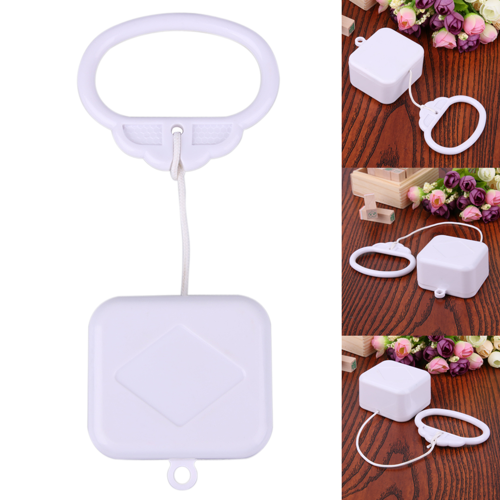 1 pcs Plastic Pull String Clockwork Cord Music Box Pull Ring Music Box White ABS Baby Kids Bed Bell Rattle Toy Birthday Gift crib portable bed bell toy rack arm bracket kindergarten music love baby rattle bedside hanging rattle gift box music bed bell