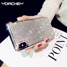 Bling Glitter Diamond Case for iphone X XS MAX XR Luxury Rhinestone Back Cover 7 8 6 6s Plus Soft Silicone Phone