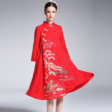 High-end floral autumn women Chinese style midi embroidery ball gown party  dress fc5a0d684cee