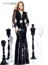 Evening Dresses 2014 Black V Neck Illusion Long Sleeve Back Straight Maxi Sequined Fabric Beaded Tarik Ediz Prom Dress