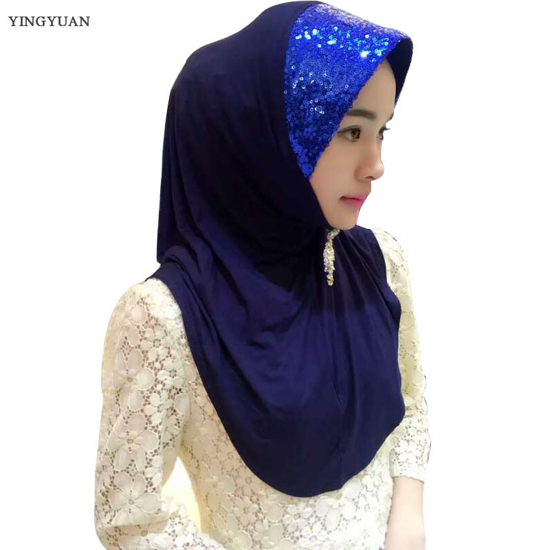 TJ33 New Style Sequin Muslim Hijab Light Board Women Scarf Ladies Scarves Fashion Classic Comfot Cshawls Sciarpa( NO Brooch)