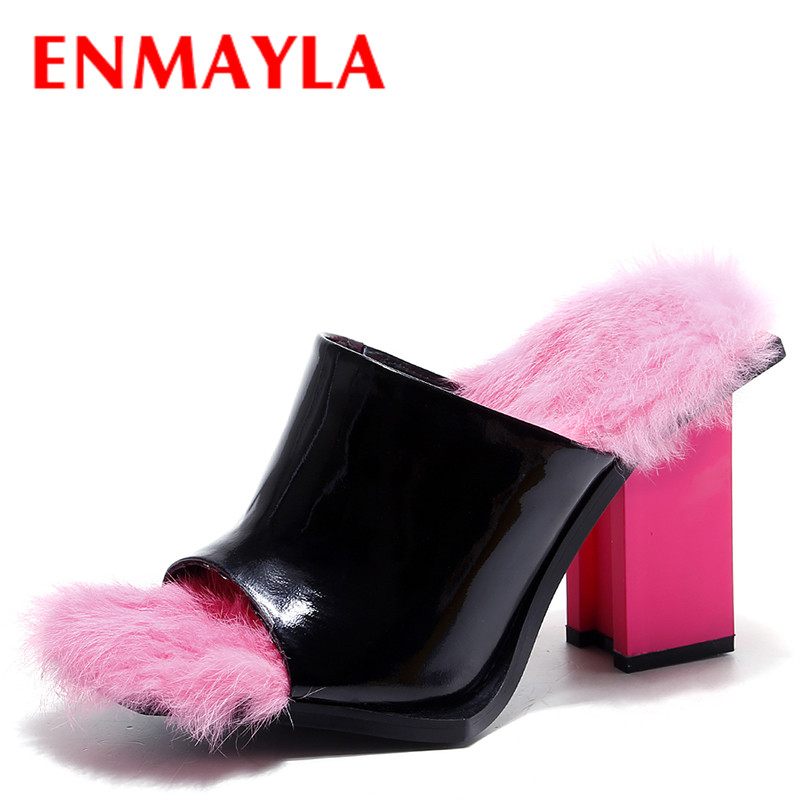 ENMAYLA Fashion Novelty Funny Rabbit Fur Slippers Women High Heels Sandals Black With Pink Cool Shoes Woman Slipper