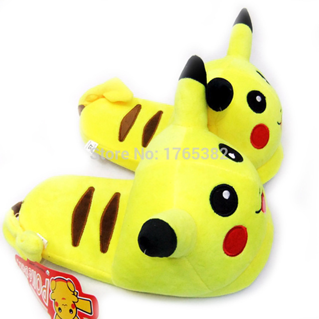Womens Winter House Slippers Pikachu Pokemon Pantuflas Animal Mage S Bedroom Plush Cotton