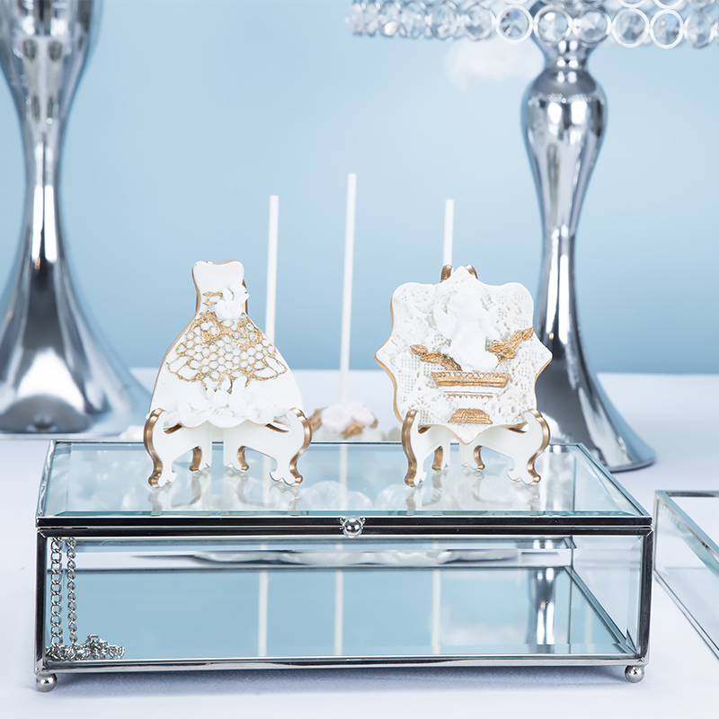 Zilveren Europese bruiloft dessert display ornamenten cake plank cake tray dessert inventaris hart plaat fruitschaal - 4
