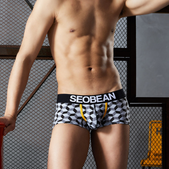 SEOBEAN Brand Underwear Men Boxers Shorts  print Men Sexy Cueca Boxer Cotton fashion U convex pouch male underpants