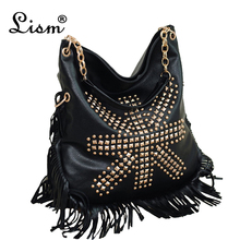 ba45a8780326 Сумки для женщин 2018 новые черные сумки бахрома кожаная сумка 2018 новые  винтажные заклепки сумки на плечо женские Большие Повс..